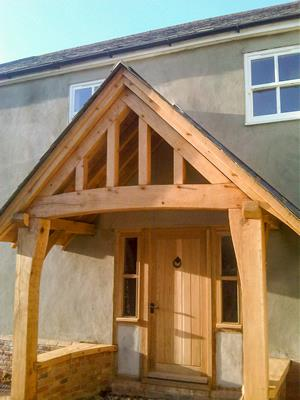 Oak Porch With Curved Tie Beam