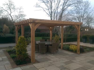 Oak Pergola Dining Area Essex