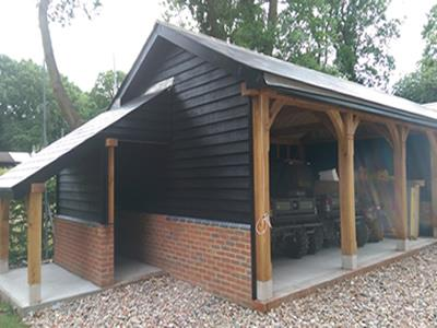 3 Bay Garage And Catslide Logstore - Essex