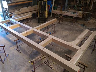Oak Frame In Construction In Framing Yard
