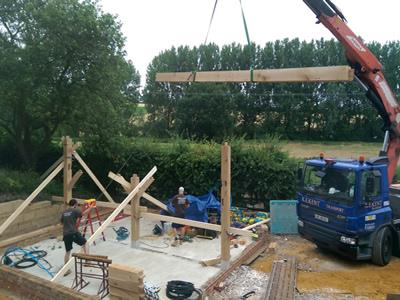 Oak Frame Being Erected On Site