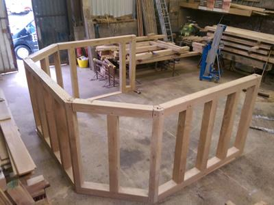 Oak Framed Octagonal Garden Room In Construction - Essence Of Oak Ltd Workshop, Essex