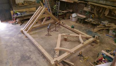 Garden Room Trusses In Construction