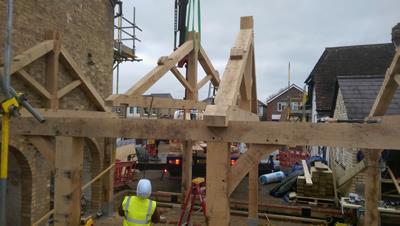 Oak Framed Trusses Being Lifted, Histon Cambridge