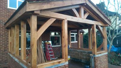 Oak Garden Room Cockenhoe In Construction