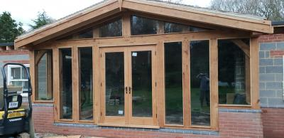 Oak Framed Glazed Garden Room and Trusses
